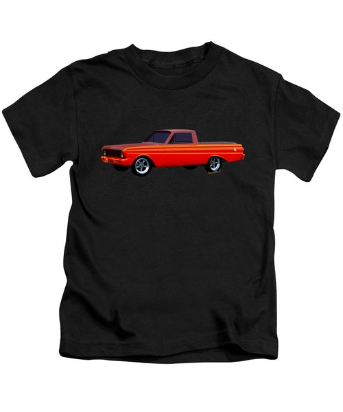 1965 Ford Falcon Ranchero Day At The Beach Kids T-Shirt by Chas Sinklier