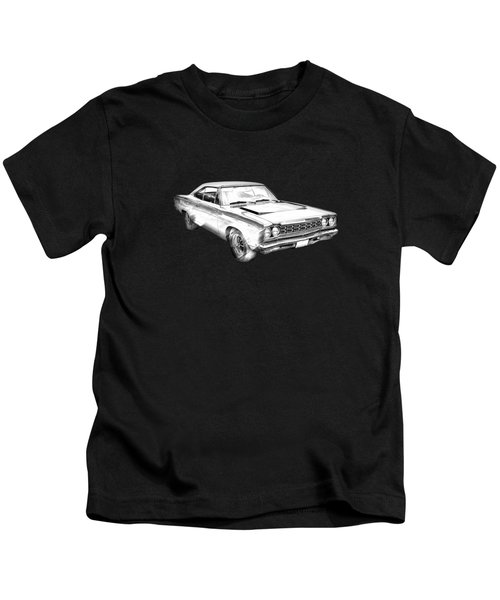 1968 Plymouth Roadrunner Muscle Car Illustration Kids T-Shirt