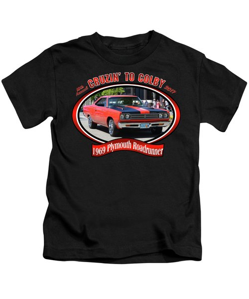 1969 Plymouth Roadrunner Masanda Kids T-Shirt by Mobile Event Photo Car Show Photography