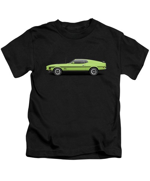 1971 Ford Mustang Mach 1 - Grabber Lime Kids T-Shirt