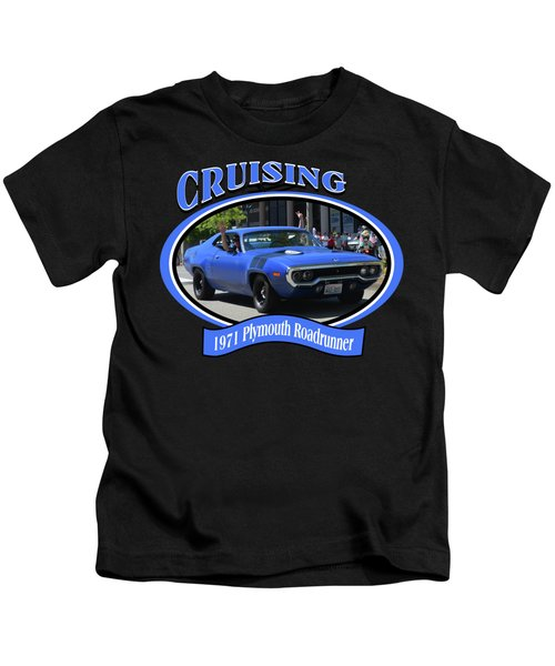 1971 Plymouth Roadrunner Hedman Kids T-Shirt by Mobile Event Photo Car Show Photography