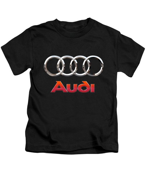 Audi - 3 D Badge On Black Kids T-Shirt by Serge Averbukh