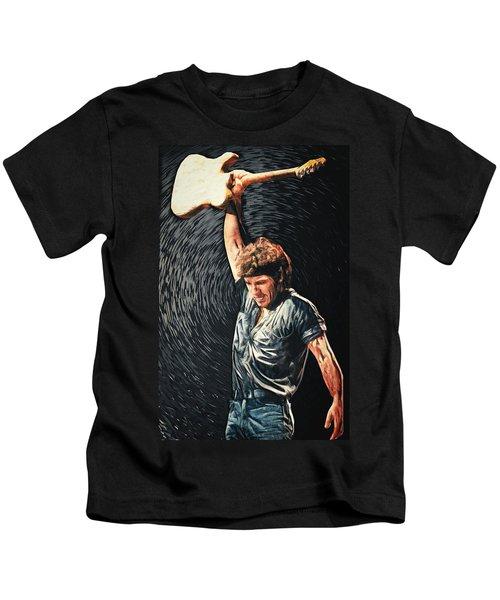 Bruce Springsteen Kids T-Shirt by Taylan Apukovska