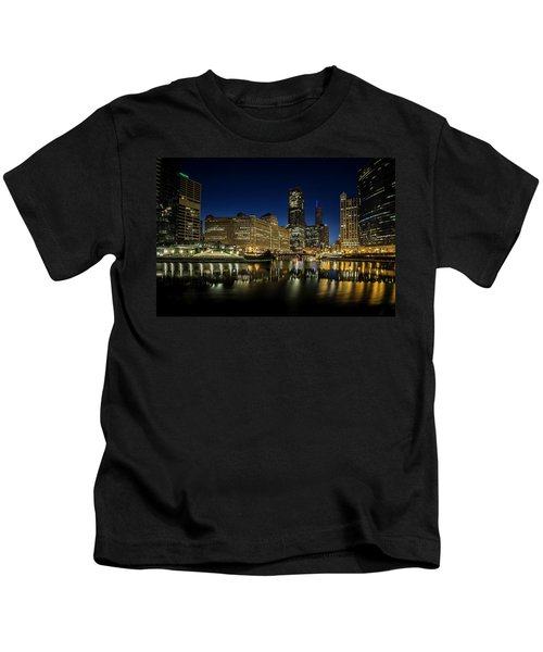 Chicago River And Skyline At Dawn Kids T-Shirt