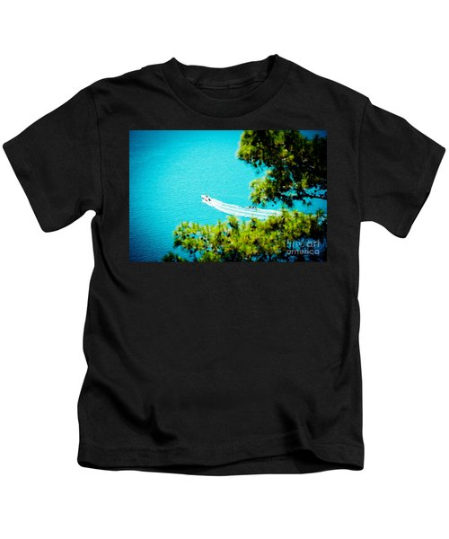 Pine Forest Over Sea Seascape Artmif.lv Kids T-Shirt