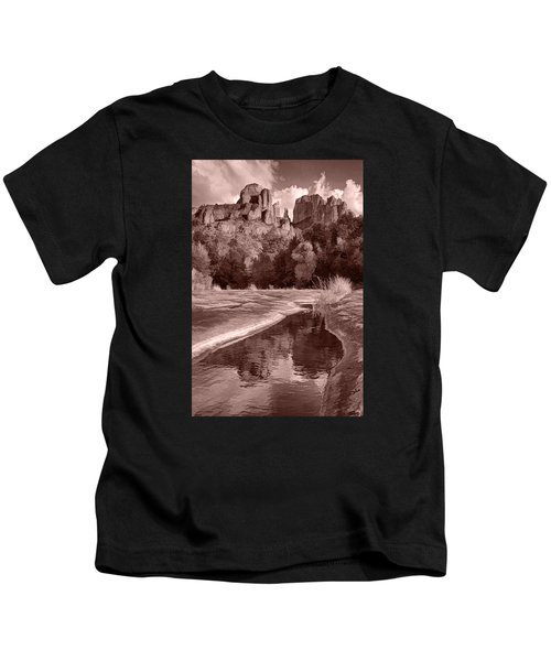 Reflections Of Cathedral Rock Kids T-Shirt