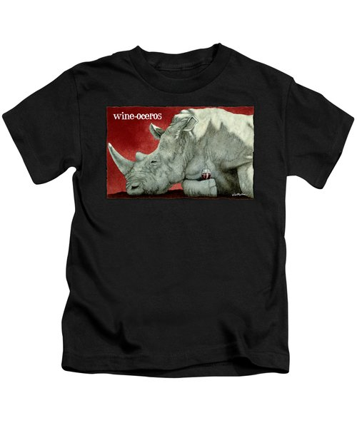 Wine-oceros Kids T-Shirt by Will Bullas