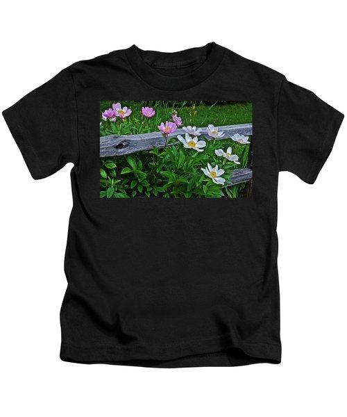 2015 Summer's Eve Neighborhood Garden Front Yard Peonies 2 Kids T-Shirt