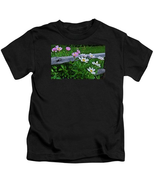 2015 Summer's Eve Neighborhood Garden Front Yard Peonies 2 Kids T-Shirt