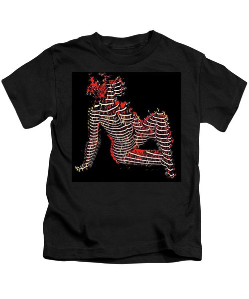 2450s-mak Lined By Light Nude Woman Rendered As Abstract Oil Painting Kids T-Shirt