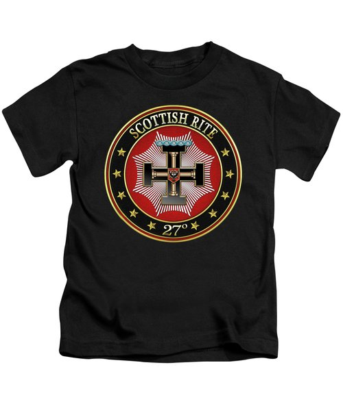 27th Degree - Knight Of The Sun Or Prince Adept Jewel On Black Leather Kids T-Shirt