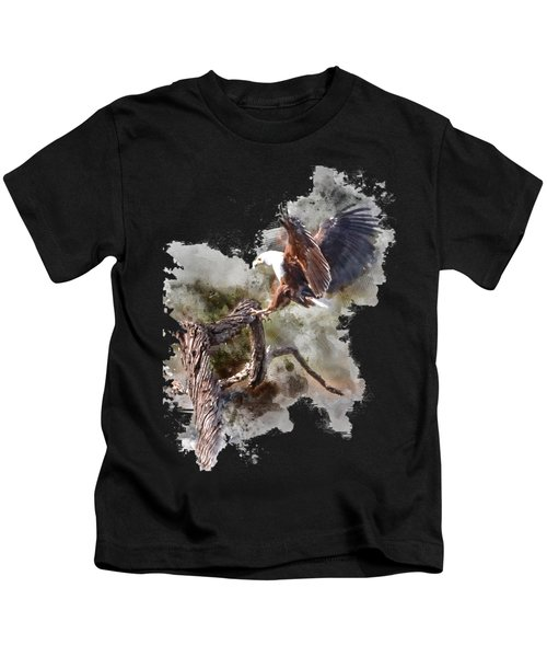 Water Paint African Fish Eagle Landing Kids T-Shirt