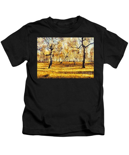 Watercolor Landscape Autumn Painting Forest Kids T-Shirt