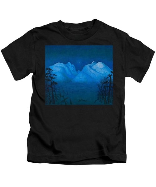 Winter Night In The Mountains Kids T-Shirt
