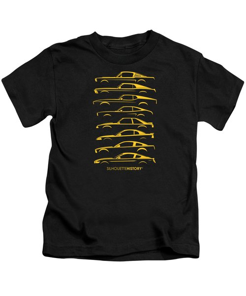 Ford Mustang Silhouettehistory Kids T-Shirt by Gabor Vida