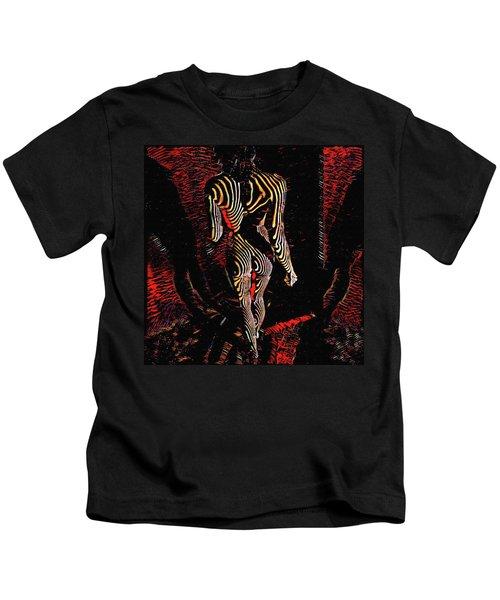 5360s-mak Abstract Zebra Striped Woman Strong Shoulders Kids T-Shirt