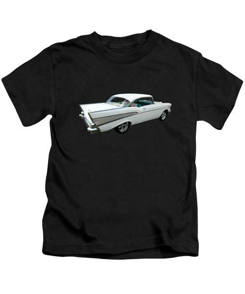 57 Chevy Bel-air Hardtop In Silver And White Kids T-Shirt