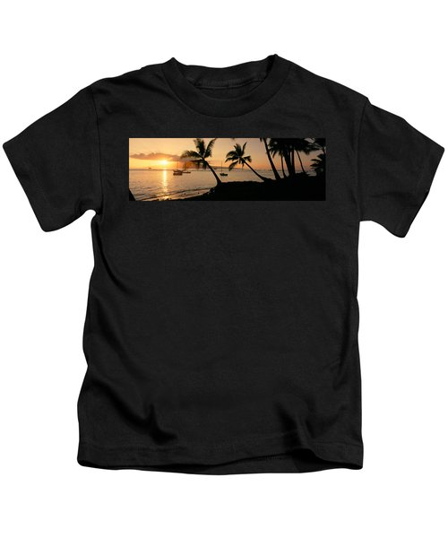 Silhouette Of Palm Trees At Dusk Kids T-Shirt