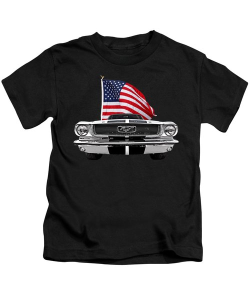 66 Mustang With U.s. Flag On Black Kids T-Shirt