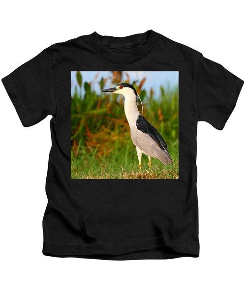 Black Crowned Night Heron Kids T-Shirt