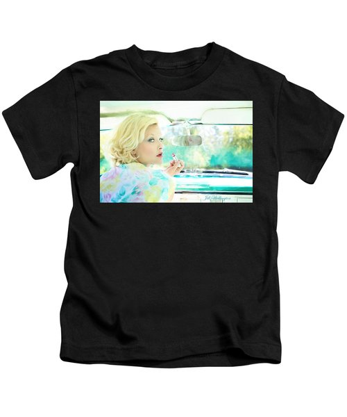 Vintage Val In The Turquoise Vintage Car Kids T-Shirt