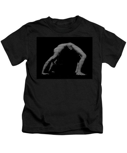 9454-dja Back Bend Yoga Zebra Girl Striped Curves Black White Photograph By Chris Maher Kids T-Shirt