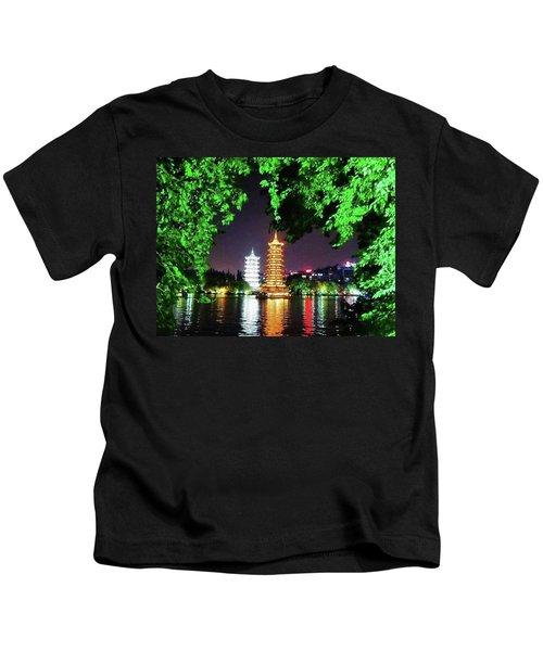 Sun And Moon Pagoda Green Leaves Kids T-Shirt