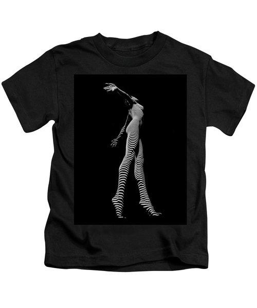 9825-dja Black And White Zebra Striped Woman Unique Perspective Fine Art Photograph By Chris Maher Kids T-Shirt