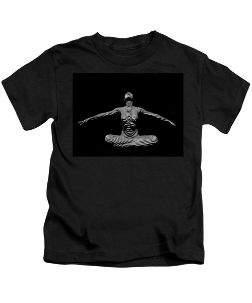 9928-dja Zebra Striped Woman Lotus Arms Out Abstract Black And White By Chris Maher Kids T-Shirt