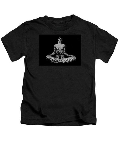 9934-dja Lotus Position In Zebra Stripes  Kids T-Shirt