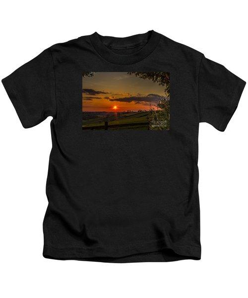 A Beautiful Sunset Over The Surrey Hills Kids T-Shirt