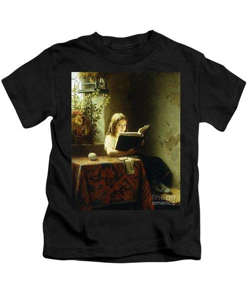 A Girl Reading Kids T-Shirt