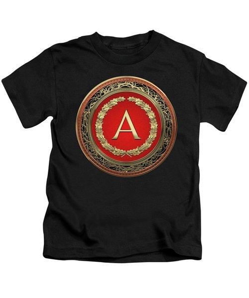 A - Gold On Red Vintage Monogram In Oak Wreath Over Black Velvet Kids T-Shirt