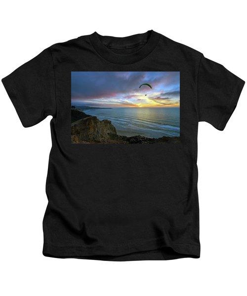 A Hang Glider And A Sunset Kids T-Shirt