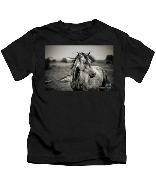 A Horse In Profile In Black And White Kids T-Shirt