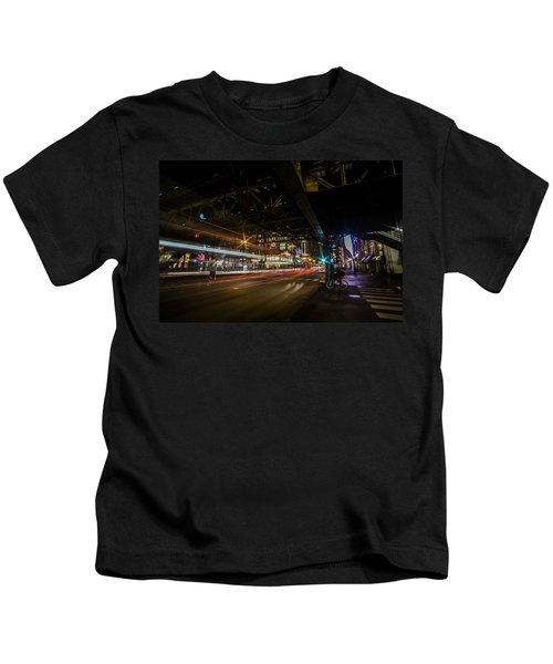 a nighttime look at Chicago's busy State and Lake Intersection Kids T-Shirt