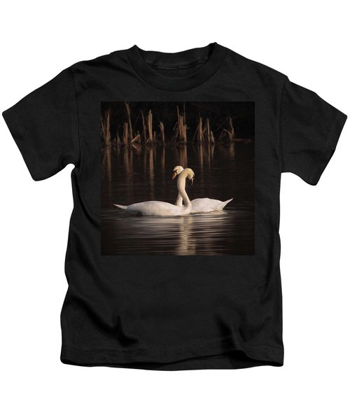 A Painting Of A Pair Of Mute Swans Kids T-Shirt