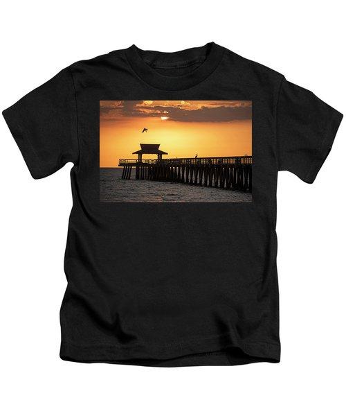 A Pelican Dive-bomb At The Naples Pier Naples Fl Kids T-Shirt