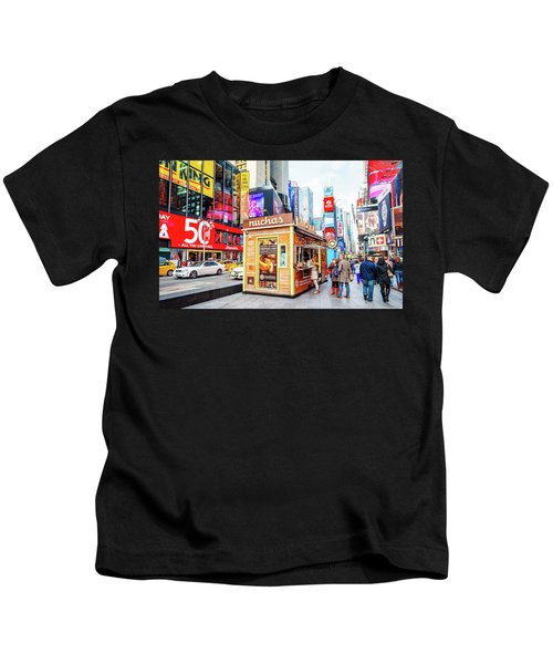 A Portable Food Stand In New York Times Square Kids T-Shirt