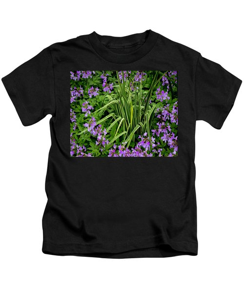 A Ring Of Purple Flowers Kids T-Shirt