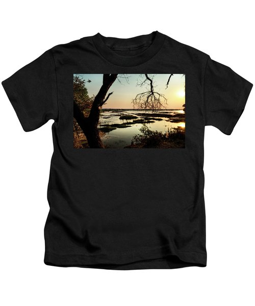 A River Sunset In Botswana Kids T-Shirt