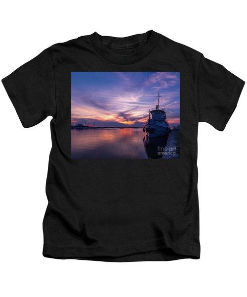 A Tugboat Sunset Kids T-Shirt