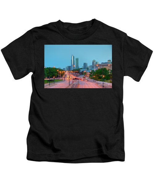 A View Of Columbus Drive In Chicago Kids T-Shirt