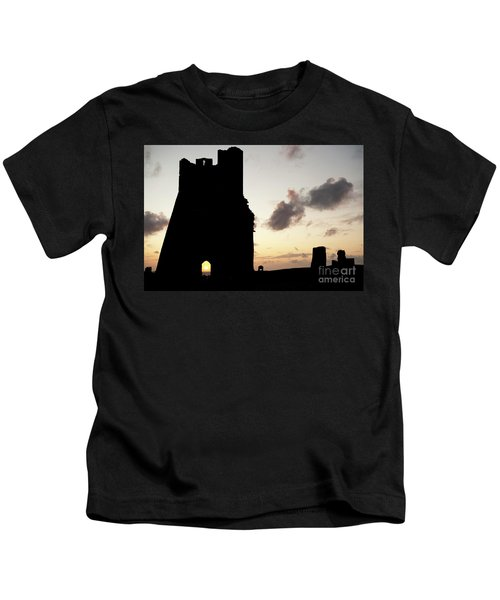 Aberystwyth Castle Tower Ruins At Sunset, Wales Uk Kids T-Shirt