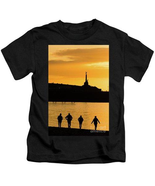 Aberystwyth Sunset Silhouettes Kids T-Shirt