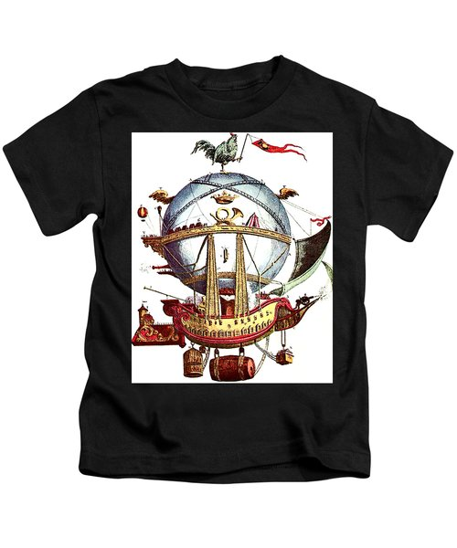 Abstract Flying Machine, Rooster On The Top Kids T-Shirt