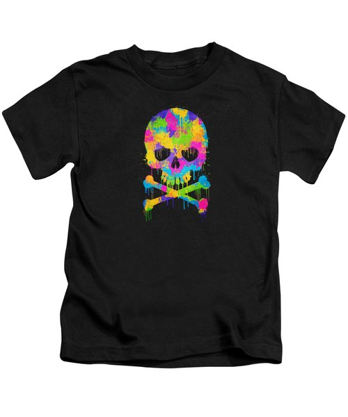 Abstract Trendy Graffiti Watercolor Skull  Kids T-Shirt