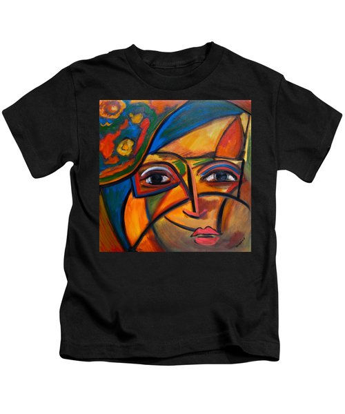 Abstract Woman With Flower Hat Kids T-Shirt