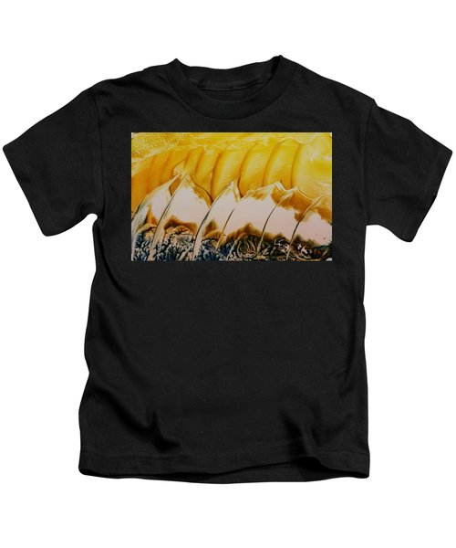 Abstract Yellow, White Waves And Sails Kids T-Shirt