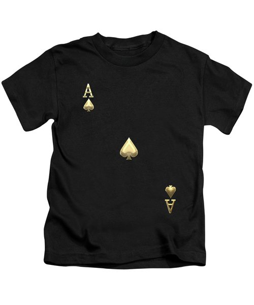 Ace Of Spades In Gold On Black   Kids T-Shirt